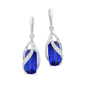 Blue Sapphire Earrings-CE4126WBS