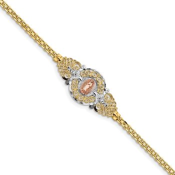 14k Two-Tone w/Rhodium Our Lady of Guadalupe Bracelet