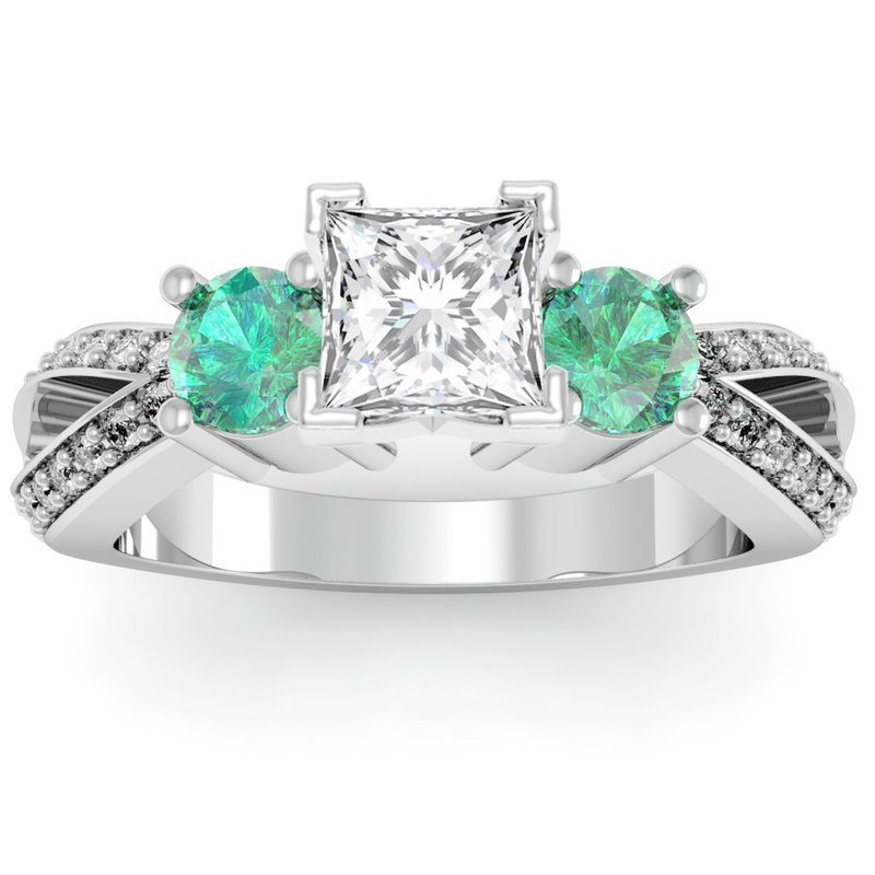 California Coast Designs Emerald Accented Pave Diamond Engagement Ring
