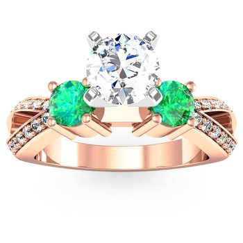 Emerald Accented Pave Diamond Engagement Ring