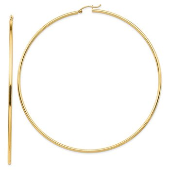 14k Lightweight 2mm Polished Hoop Earrings