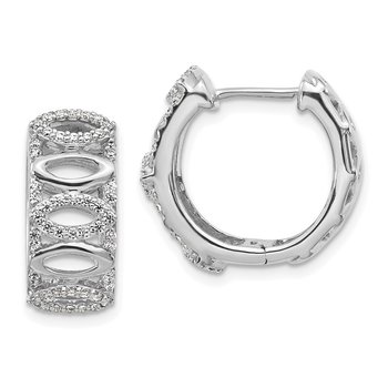 14k White Gold Diamond Fancy Hoop Earrings