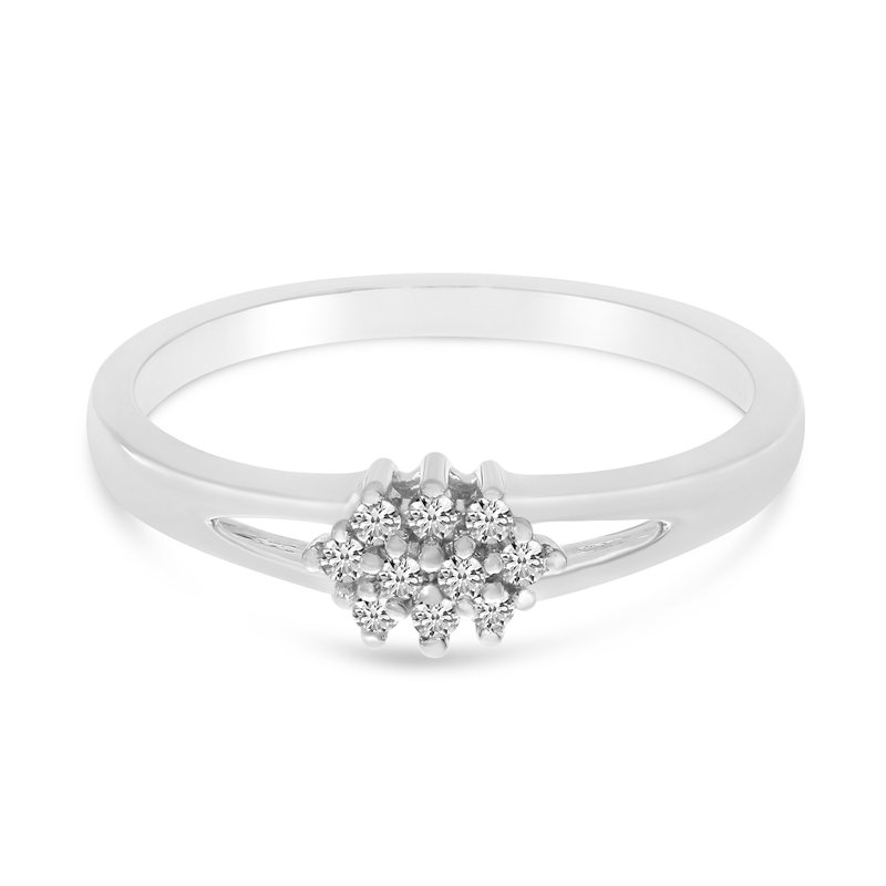 Color Merchants 10K White Gold Diamond Cluster Ring