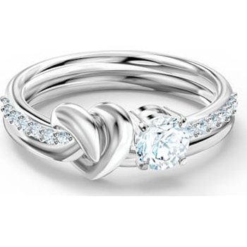 Lifelong Heart Ring, White, Rhodium plated
