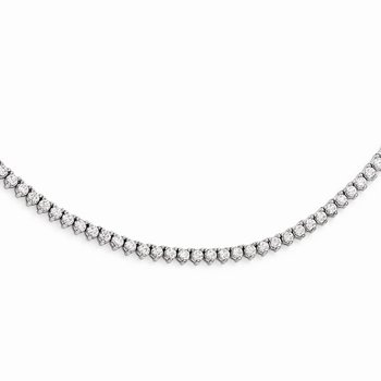 Sterling Silver Rhodium Plated CZ 18in Necklace
