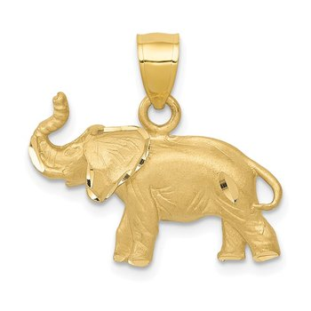 14K Diamond-cut Elephant Pendant
