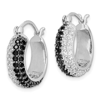 Sterling Silver Black and White CZ Hoop Earrings