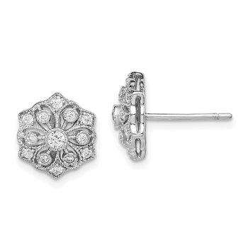 Sterling Silver Rhodium-plated CZ Post Earrings