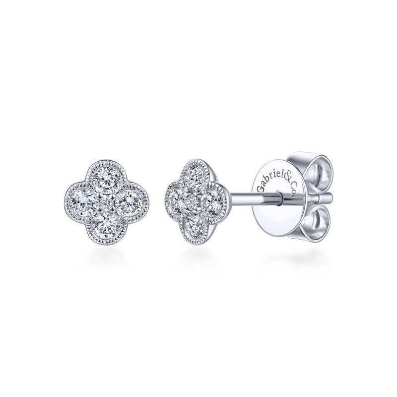 Gabriel Fashion 14K White Gold Diamond Flower Stud Earrings
