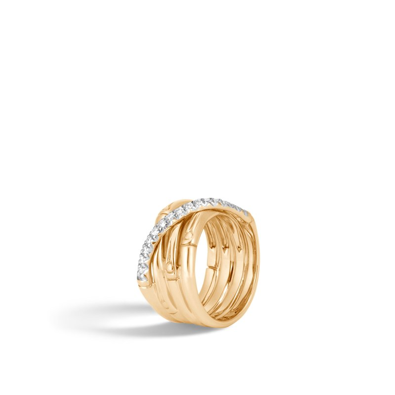 JOHN HARDY Bamboo 14MM Band Ring in 18K Gold with  Diamonds