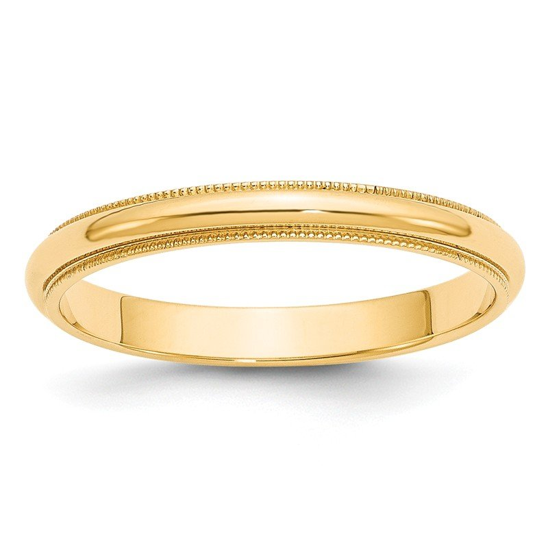 Quality Gold 14k 3mm Milgrain Half-Round Wedding Band