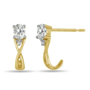 10K YG and diamond and White Sapphire infinity style birthstone earring
