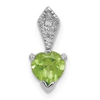 Sterling Silver Diamond & Peridot Heart Pendant