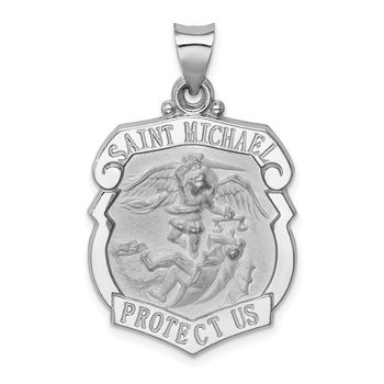 14K White Gold Polish/Satin St Michael Badge Medal Hollow Pendant