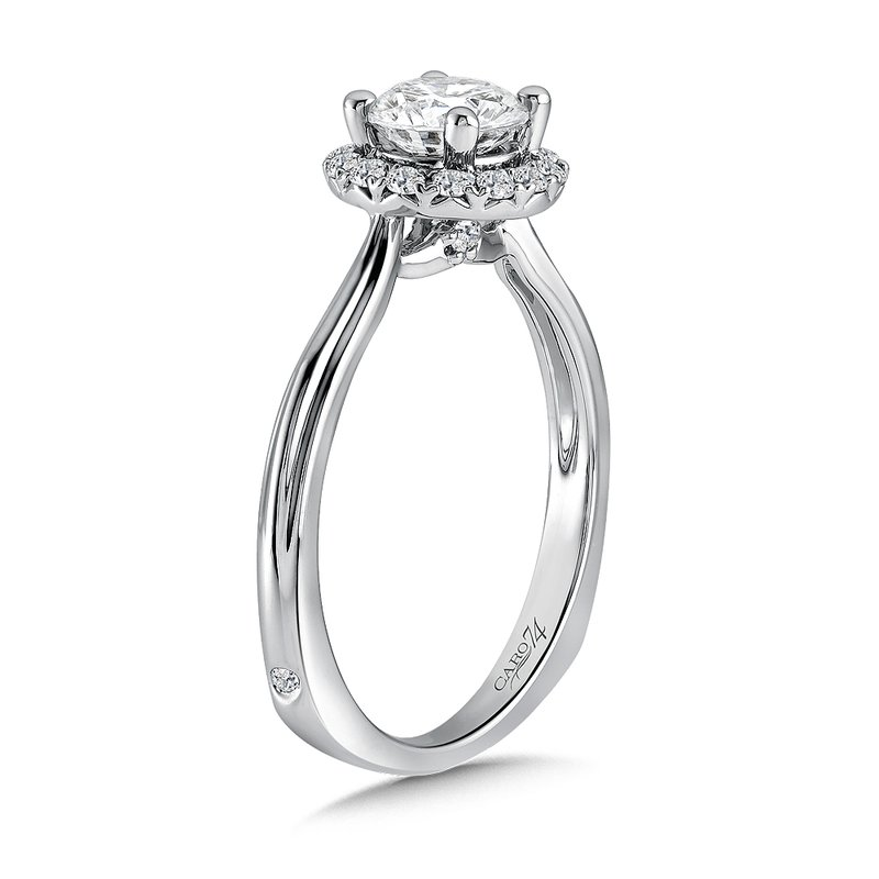 Caro74 Classic Elegance Collection Halo Engagement Ring with Side Stones in 14K White Gold with Platinum Head (3/4ct. tw.)
