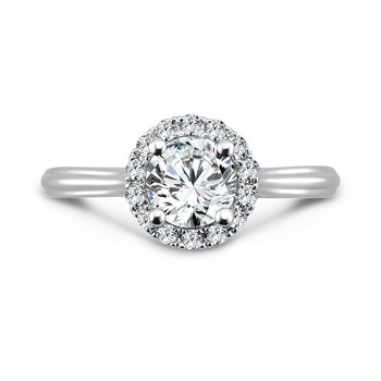Classic Elegance Collection Halo Engagement Ring with Side Stones in 14K White Gold with Platinum Head (3/4ct. tw.)