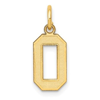 14k Small Satin Number 0 Charm