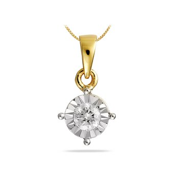 14K YG Diamond Mini solitaire Pendant
