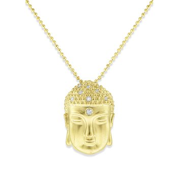 Diamond Buddha Necklace in 14k Yellow Gold with 9 Diamonds weighing .04ct tw.