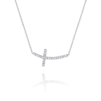 14K Curved Sideways Cross Necklace