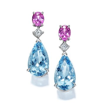 Platinum Aquamarine, Pink Sapphire & Diamond Earrings
