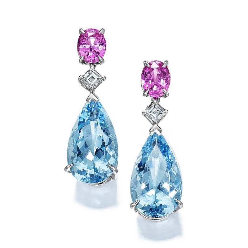 Oscar Heyman Platinum Aquamarine, Pink Sapphire & Diamond Earrings