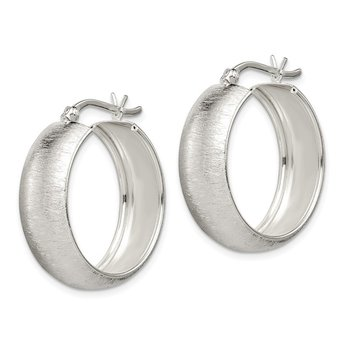 Sterling Silver Polished Laser-cut 8.5x25mm Hoop Earrings