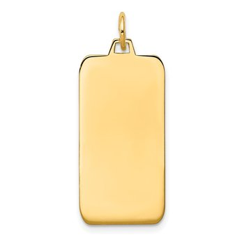 14k Plain .035 Gauge Engravable Rectangular Disc Charm