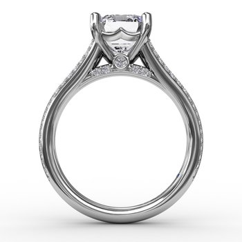 Contemporary Emerald Cut Diamond Solitaire Engagement Ring With Triple-Row Diamond Band