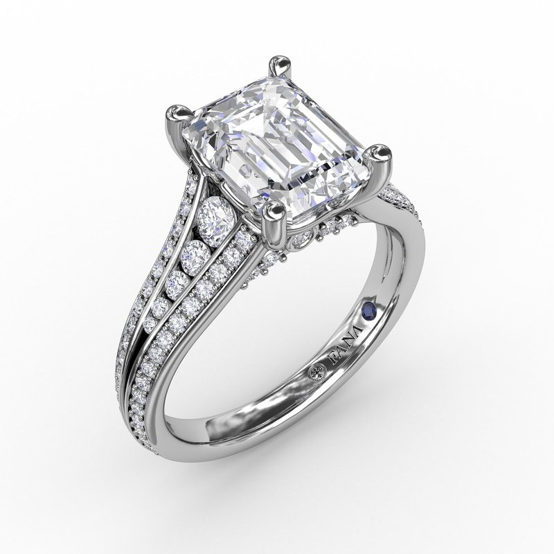 Fana Contemporary Emerald Cut Diamond Solitaire Engagement Ring With Triple-Row Diamond Band