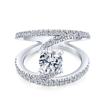 14k White Gold Diamond French Pave Split Shank Renewal Engagement Ring