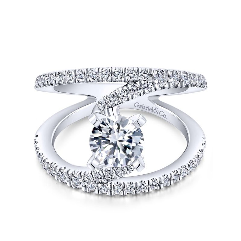 Gabriel Bridal 14k White Gold Diamond French Pave Split Shank Renewal Engagement Ring