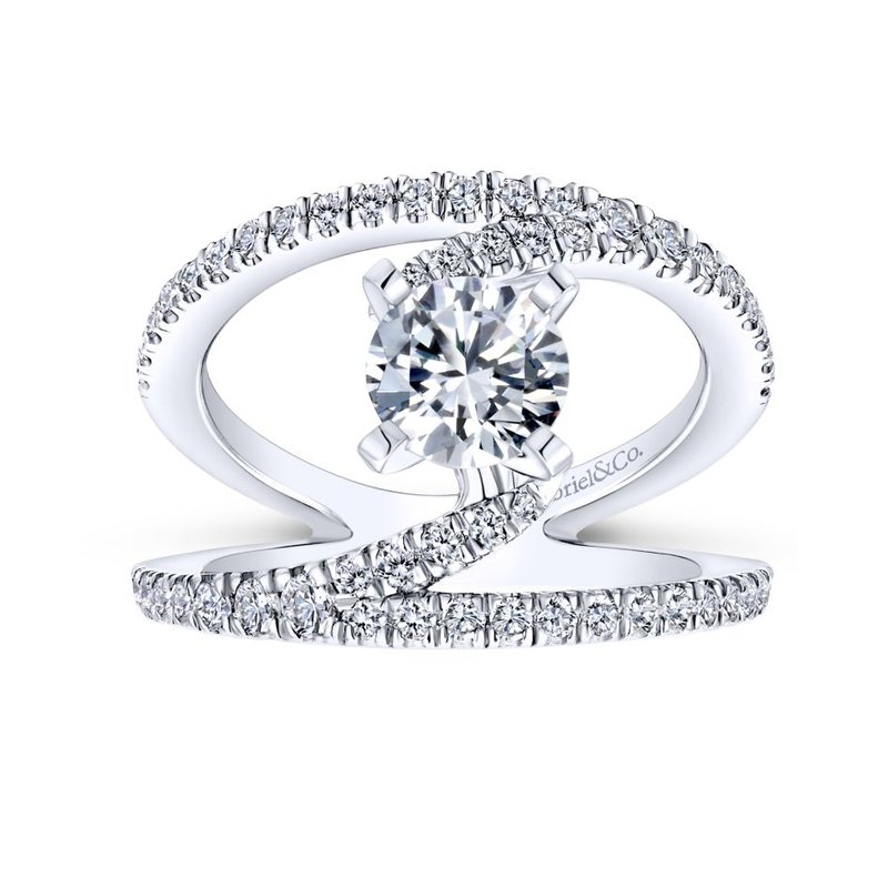 Gabriel Bridal 14K White Gold Round Split Shank Diamond Engagement Ring