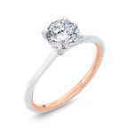 18K Two-Tone Gold Diamond Solitaire Plus Engagement Ring  (Semi-Mount)