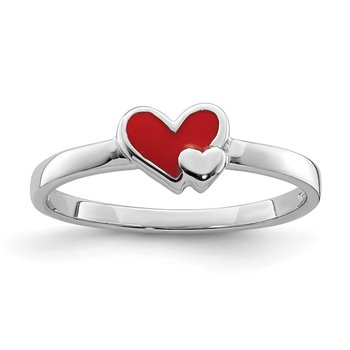 Sterling Silver Rhodium-plated Childs Enameled Red Heart Ring