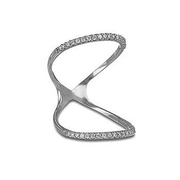 14K WG Diamond Double Loop Fashion Ring in Prong Setting
