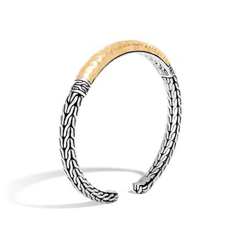 Classic Chain Flex Cuff in Silver and Hammered 18K Gold