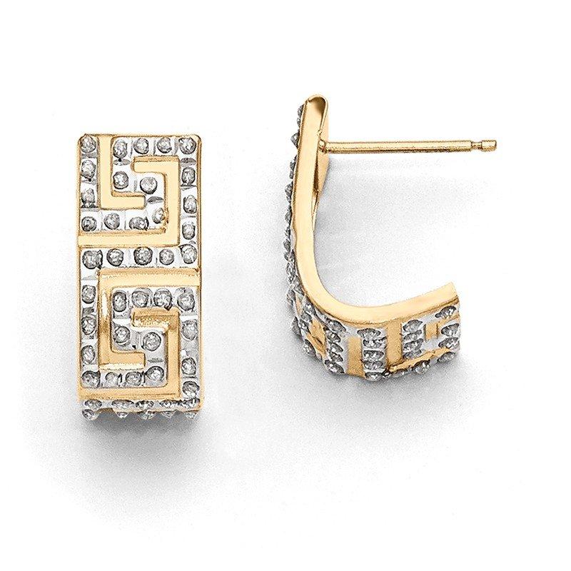 Quality Gold 14k Diamond Fascination Greek Key Post J Hoop Earrings