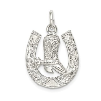 Sterling Silver Horseshoe with Boot Charm