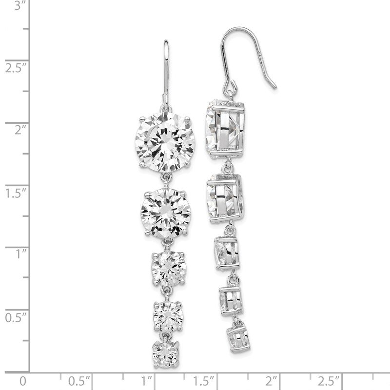 Cheryl M Cheryl M SS Rhodium-plated CZ 5-Stone Shepherd Hook Dangle Earrings
