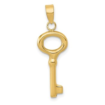 14K Polished 3-D Key Charm