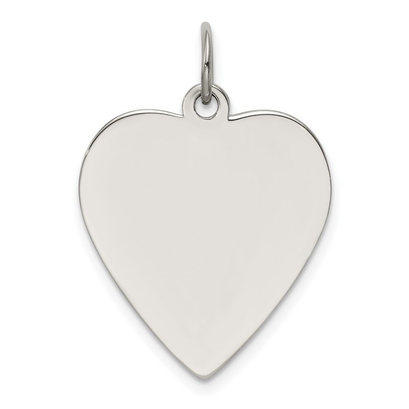 JC Sipe Essentials Sterling Silver Rh-plt Engraveable Heart Polished Front/Back Disc Charm