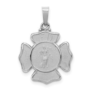 14k White Gold Polished and Satin St Florian Badge Pendant