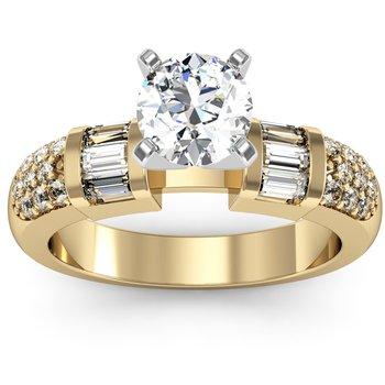 Pave & Baguette Diamond Engagement Ring