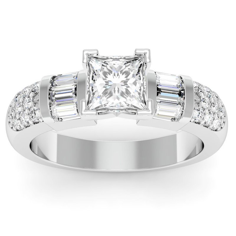 Pave & Baguette Diamond Engagement Ring