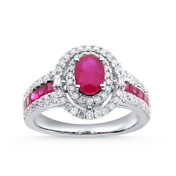 14K 0.58Ct Diamond Ruby Ring