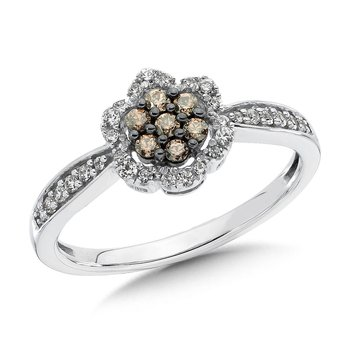Pave set,  Cognac and White Diamond Flower Motif Cluster Ring set in 10k White Gold (1/3 ct. tw.)
