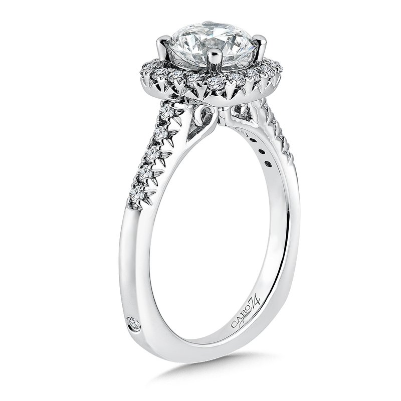 Caro74 Cushion-Shape Halo Engagement Ring with Diamond Side Stones in 14K White Gold with Platinum Head (1-1/4ct. tw.)