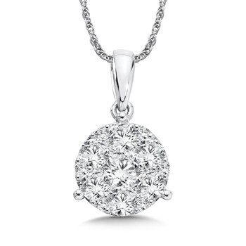 Prong set Diamond star Martini Style Pendant in 14k White Gold (3/4 ct. tw.)