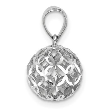 14K White Gold D/C Ball Dangle Pendant